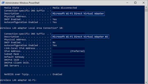 windows powershell wifi direct configuraiton