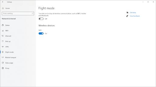 switch off airplane mode (flight mode)