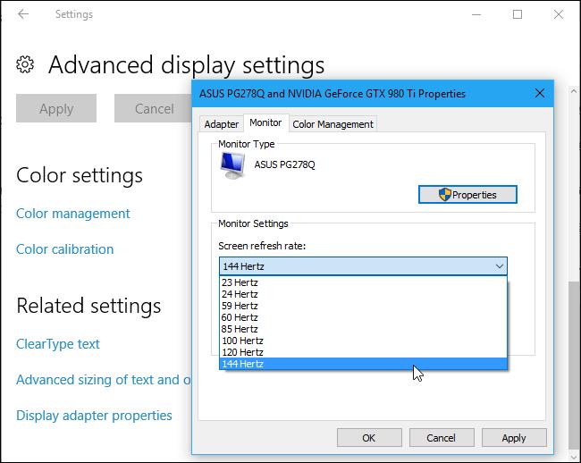 Windows 10 screen refresh rates