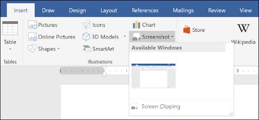 Insert screenshot in Word