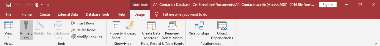 Table tools in access