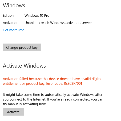 Unable to reach windows activation server