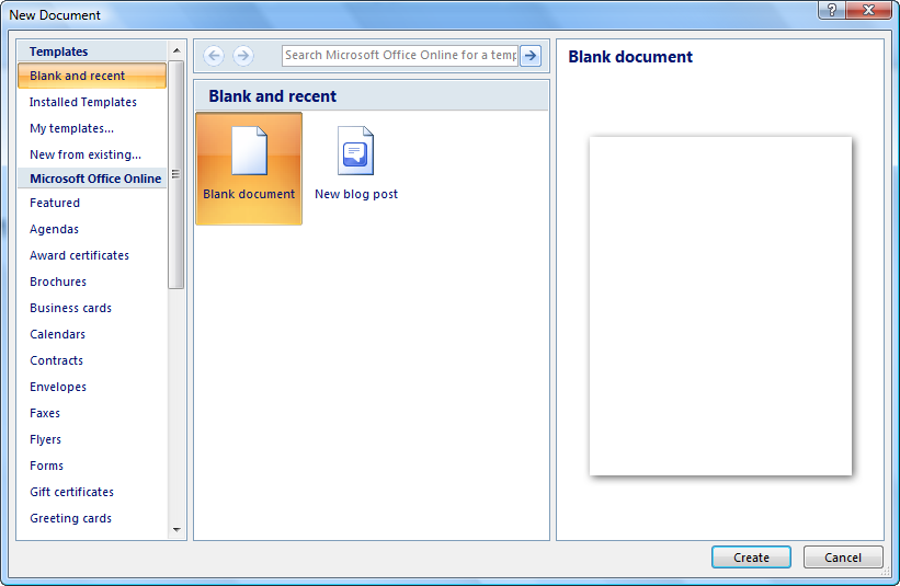 How to create a document in Word