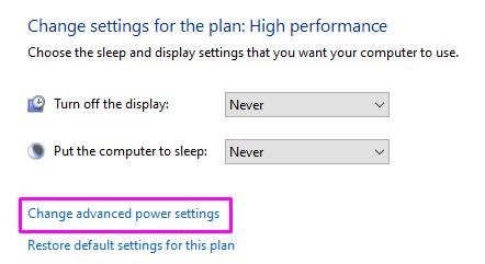 advanced power settings