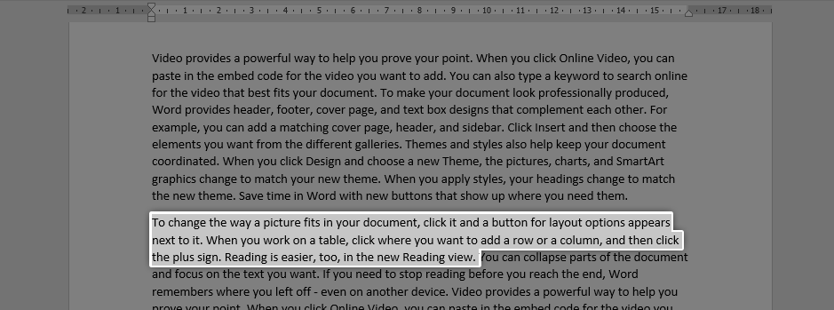 How to select and copy text in word
