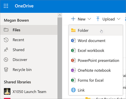 managing Folders and Files on Onedrive
