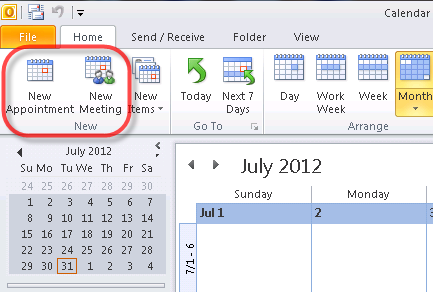 How to create meetings and appointments in outlook