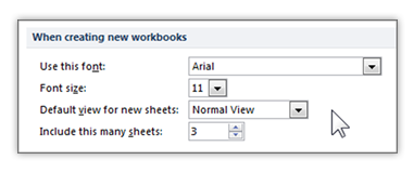changing default font on workbooks