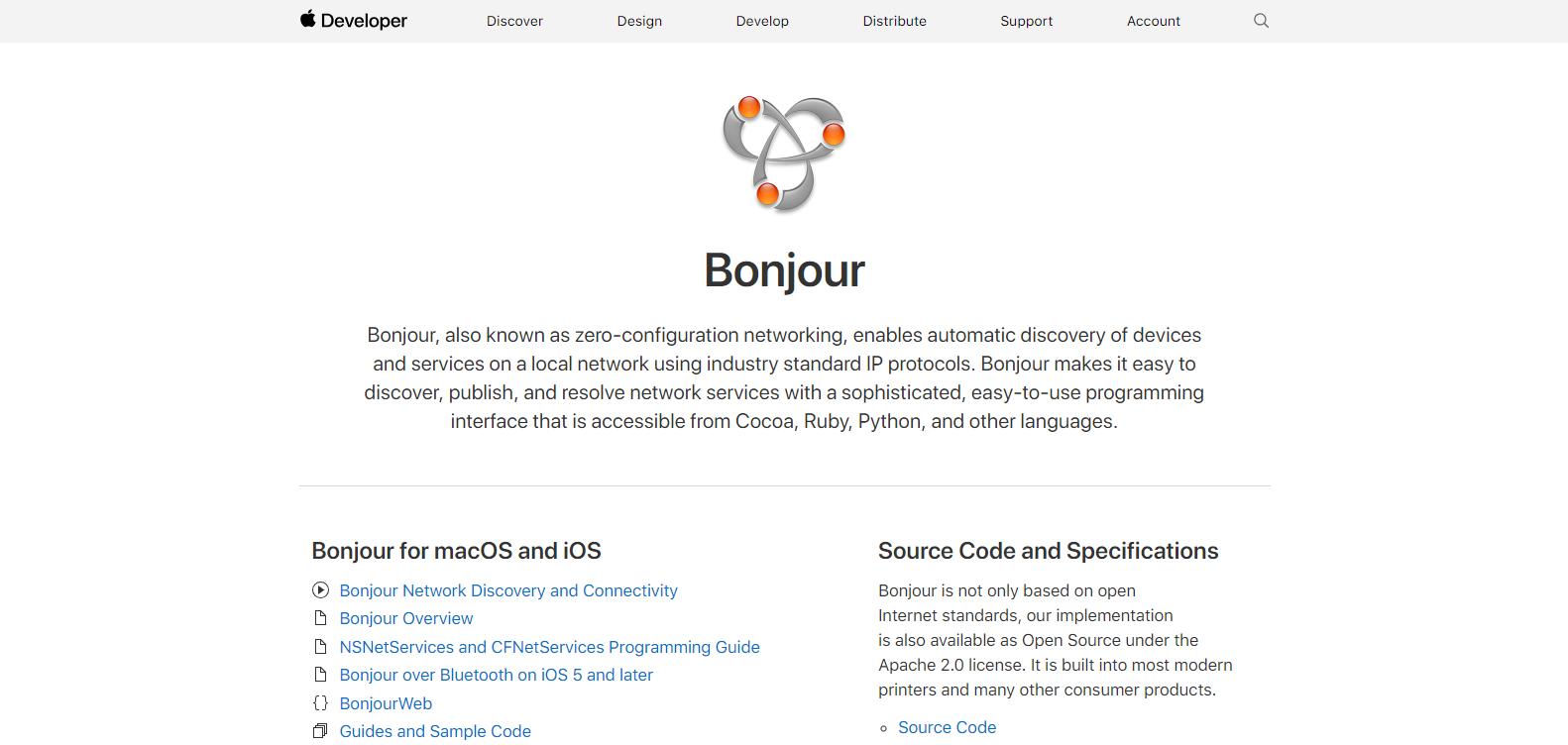 Bonjour for developers dashboard