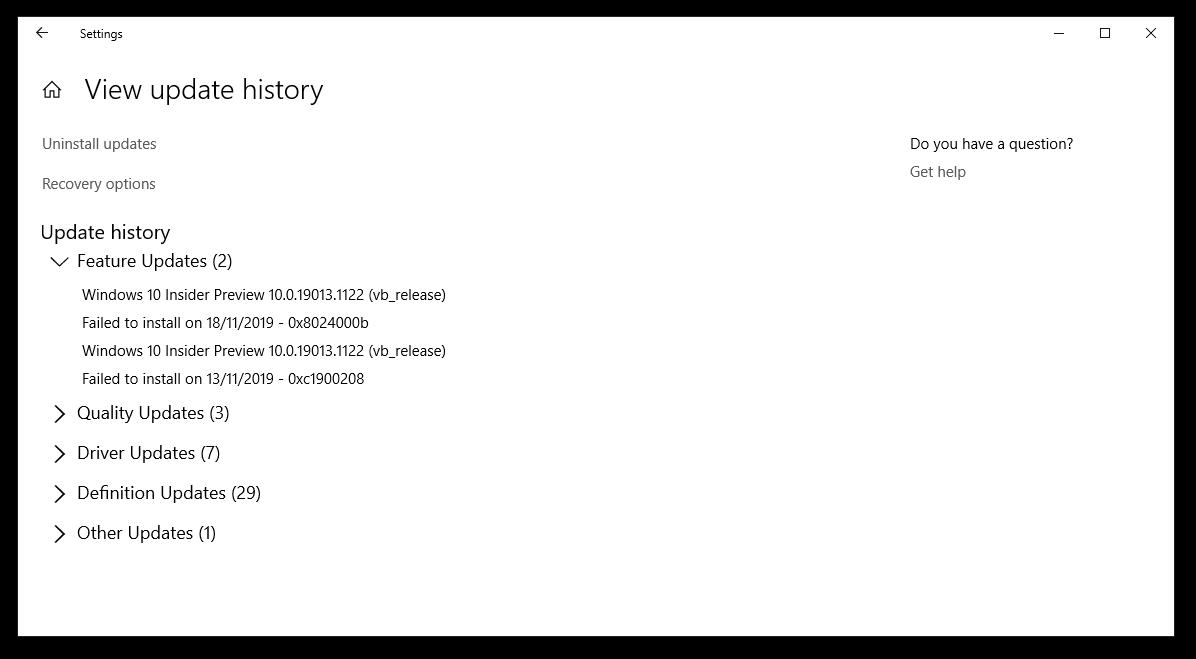 latest windows update