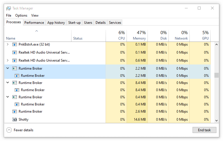 How to end runtimeboker.ex process