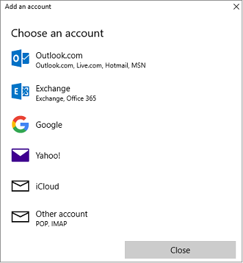 Choose the right account type of set up your email