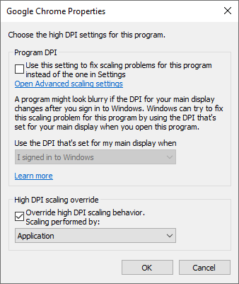 chrome override high DPI scaling