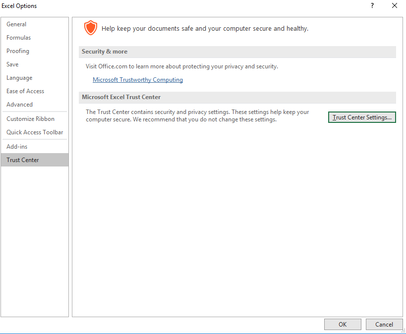 how to change excel program settings