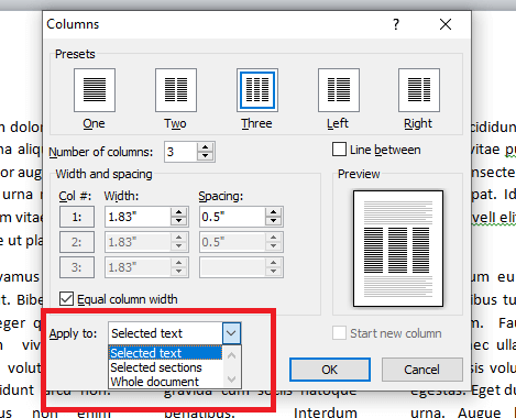apply selected to columns