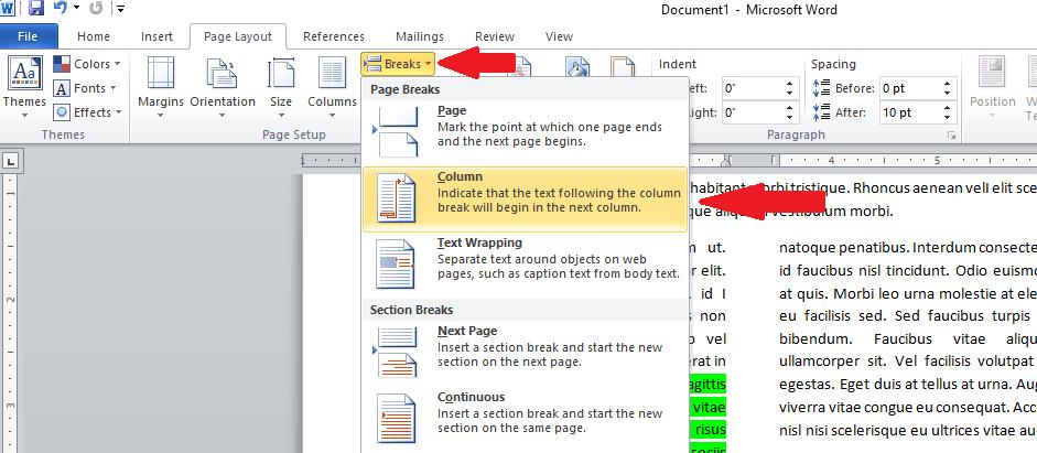 page breaks in word