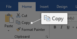 Copy text in word