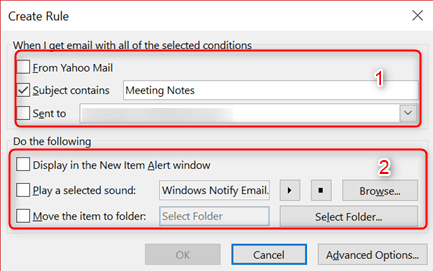 setup outlook rules