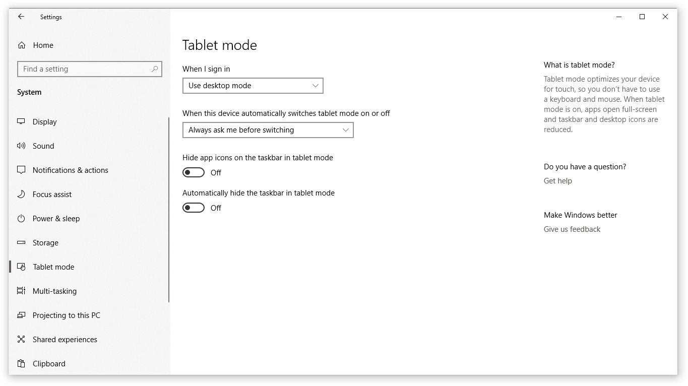 disable tablet mode