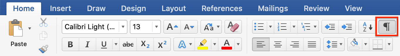 how to delete paragraph symbols in word