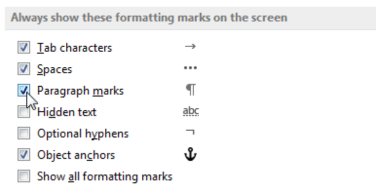 delete paragraph symbols in word