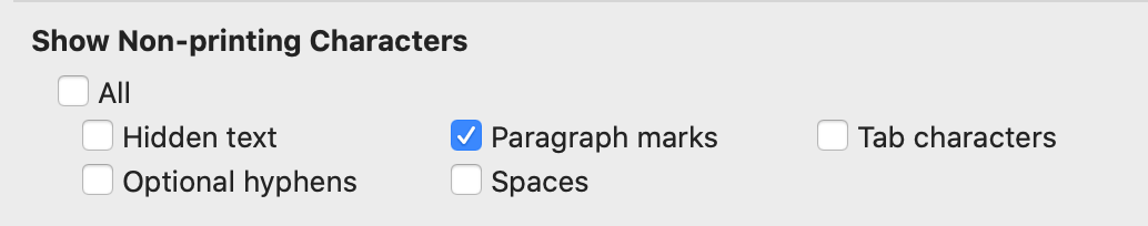 show non performing paragraphs