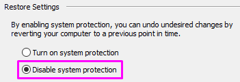 How to disable system protection