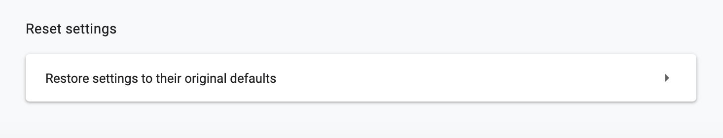 restore default settings