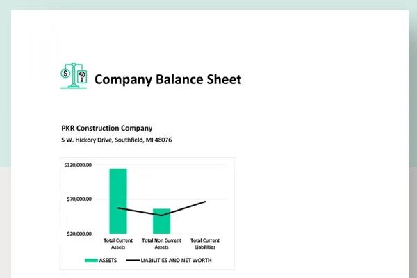 comapny balance sheet template