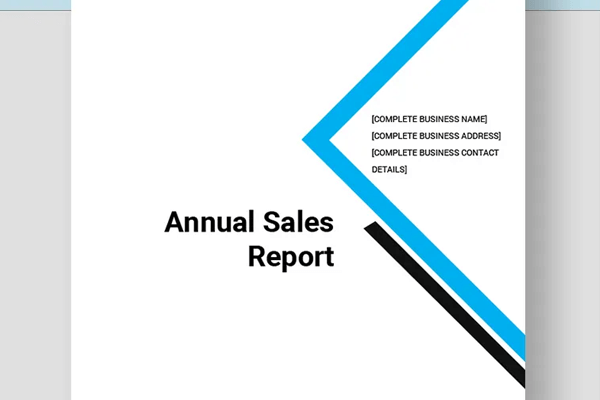 annual sales report excel template