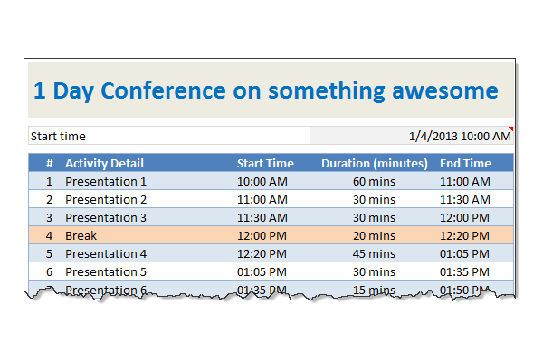 conference and meeting agenda excel template
