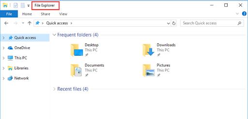 Basic File explorer in Windows 10