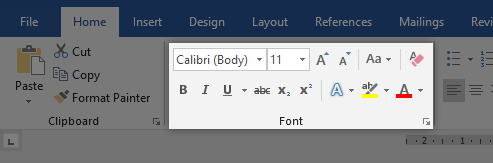 Font Section in Word