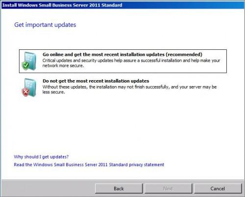 How to update windows small business server