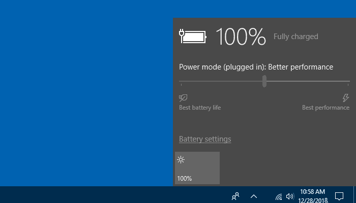 Battery power greyed out