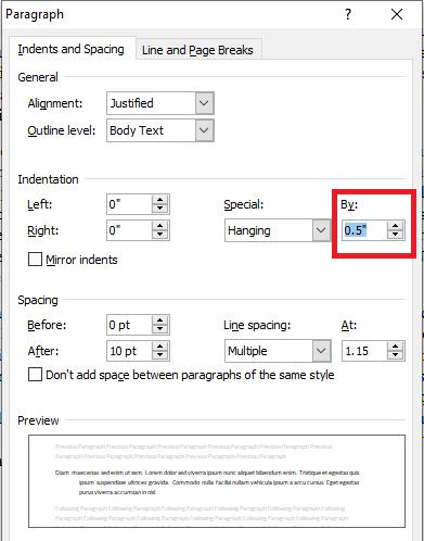decrease indent spacing in word