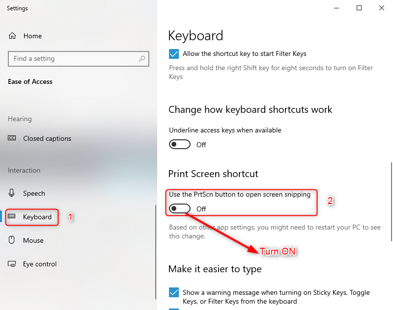 how to turn on print screen in windows 10