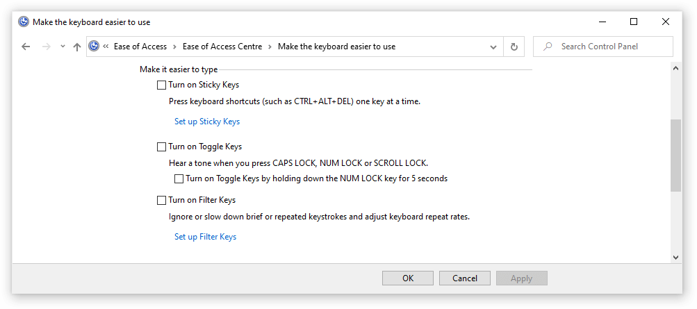 turn off filter feature