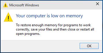 Low memory in windows 10