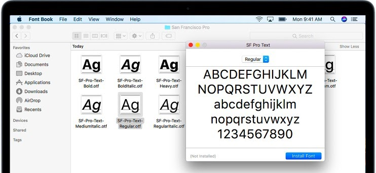 how to install fonts to word on Mac