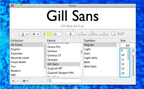 preview font on mac