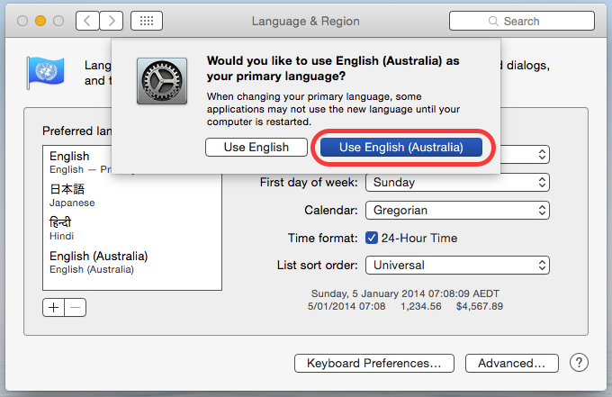 change language in word for Mac