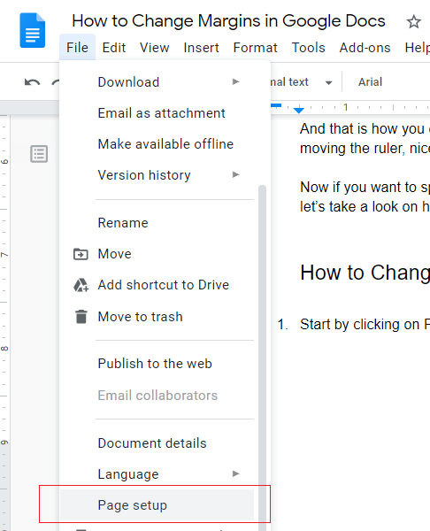 Page setup in google docs
