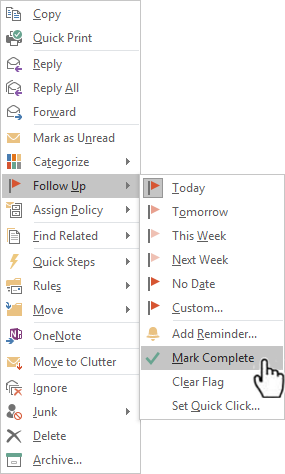 Setting up categories and flags in outlook