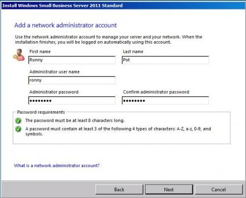 How to add a network administrator account on SBS 2011