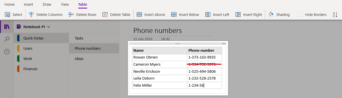 How to insert tables in onenote