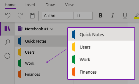 How to use sections in Onenote