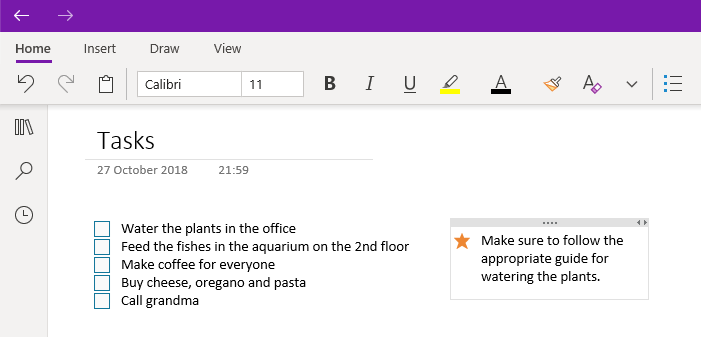 How to modify frames in onenote