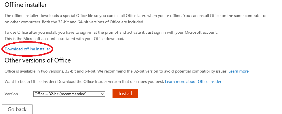 How to use Office Offline installer