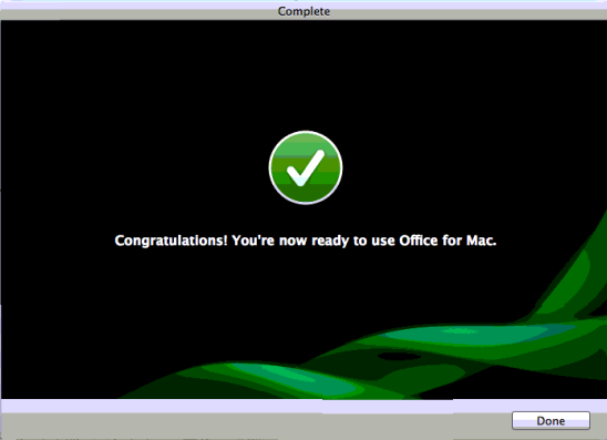 Activating Office 2011 for Mac using Product Key